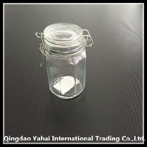 170ml Clear and Square Glass Storage Jar with Glass Lid pictures & photos