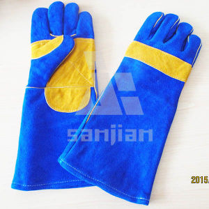 """Double Plam Blue&Yellow 13"""" Split Leather Ab/Bc Grade Welding Safety Glove with CE pictures & photos"""