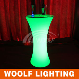 LED Plastic Round Cocktail Table with Glass Top Table pictures & photos