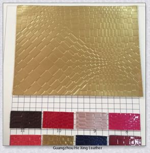 Weave Design PU Embossed PU Leather (9957) pictures & photos