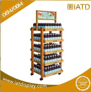 Heavy Duty 3 Tiers Wooden Floor Display Rack pictures & photos