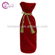 Promotional Red Cotton Drawstring Wine Gift Bag