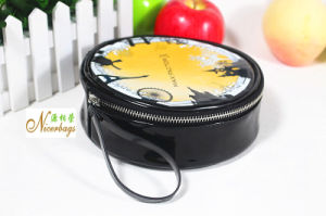 Lovely Round PU Cosmetic Bags with Wrist Strap pictures & photos