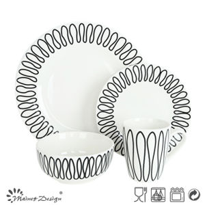 16PCS Porcelain Dinner Set with Geometrical Decal Design pictures & photos