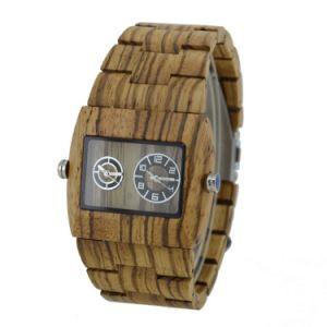 New Style Cheap Sanders Wooden Zebra Wood Quartz Watch (HL-CD003) pictures & photos