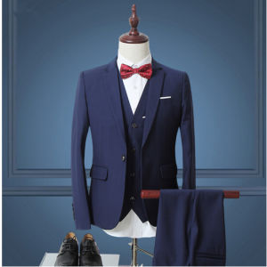 3 Piece Bespoke Wool Wedding Dinner Suits for Men