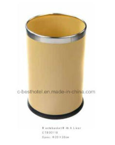 Leather Steel Floor Stand Waste Bin Recycle Trash Can Lid Hotel Room pictures & photos