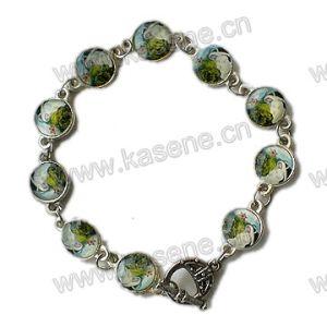Plastic Elastic Flag Gold Rosary Bracelet with Saint Picture pictures & photos