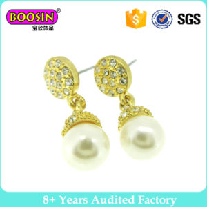 Gold Plating Simple Gold Pearl Earring Designs for Women pictures & photos