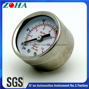 40mm 50mm Electroplate Steel Case General Manometer with Red Scale for Caution pictures & photos