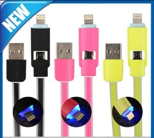 LED 2 in 1 Micro Sync Data Charging USB Cable pictures & photos