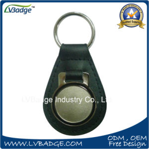 Promotion Custom Round Shape Metal Leather Key Chain pictures & photos