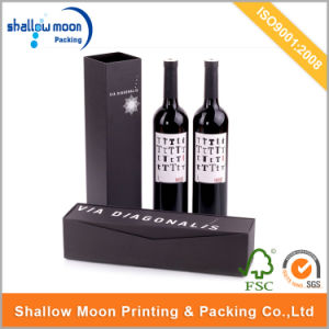 Customized Foil Black Paper Packaging Wine Box (QYCI1598) pictures & photos