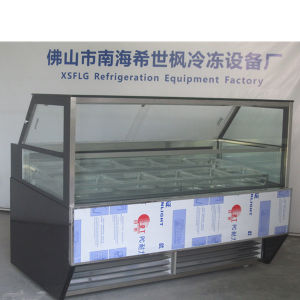 Straight Glass Ice Cream Showcase for Sale/Scooping Display Cabinet pictures & photos