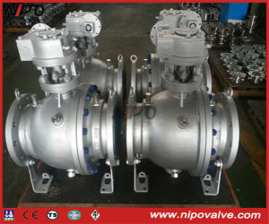 Cast Steel Flanged Trunnion Ball Valve with Gear Box pictures & photos