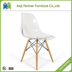 Pure White Firm and Convenienit Seat Dining Chair with Wooden Base (Arabela) pictures & photos