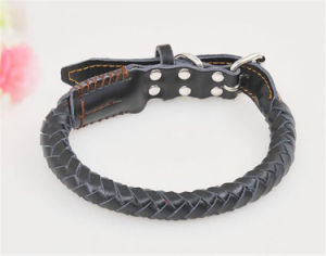 High Quality Braided Black and Brown Wholesale Soft Genuine Leather Dog Collar pictures & photos