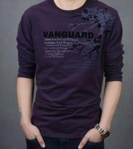 Men Fashion V-Neck Lycra Stripe T-Shirt pictures & photos
