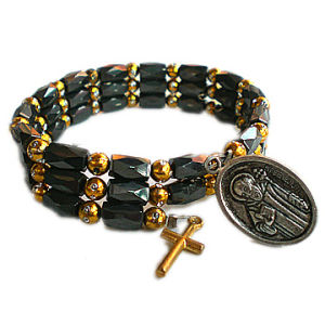Holy Christian Picture Hematite Rosary Bracelet pictures & photos