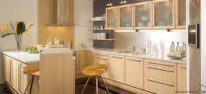 Custom Made Beige Color HPL Kitchen Furniture with Glass Wall Cabinets BMK-66 pictures & photos