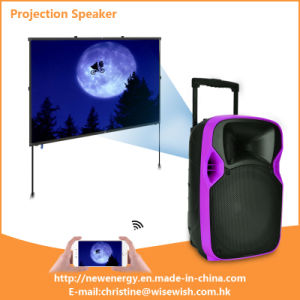 Professional Golden Supplier Portable Battery LED Projector Speaker pictures & photos