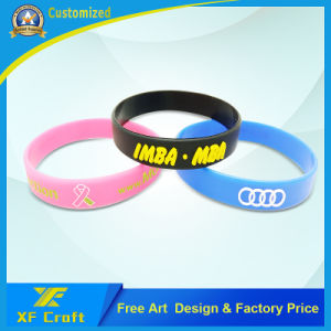 Custom Fashion Silicon/Rubber/PVC/Printed/Embossed/Debossed/Luminous Silicone Bracelet with Logo (XF-WB14) pictures & photos