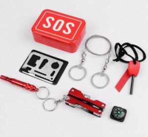 Tin Box Sos Emergency First Aid Pack Card Knife Compass Flint Saw LED Torch Whistle Set Outdoor Survive Tool pictures & photos
