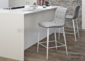 Modern Light Grey Lounge Leather Kitchen Bar Chair (NK-DCA038-1)