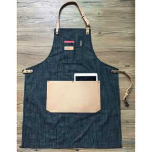 Factory Professional Black Full Length Denim Barber Aprons with Leather Tool Pockets pictures & photos