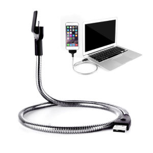 50cm Bending Hose Metal Lazy Mobile Bracket Charging Data Palm Micro USB Cable with Holder Function for Samsung HTC Sony Andorid Mobile Phone pictures & photos