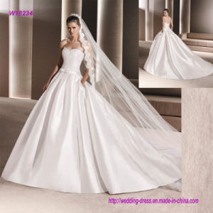 Hot Sale Ball Gown White Strapless Wedding Dress pictures & photos