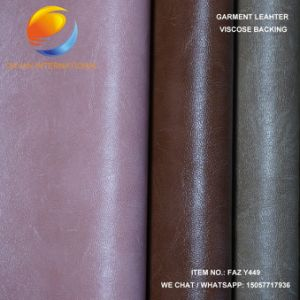 High Qulaity PU Leather for Garment in Suede Backing pictures & photos