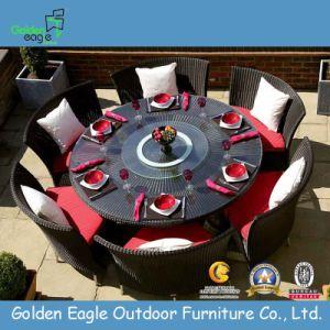 Hot Aluminium Woven Rattan Round Table Dining Set