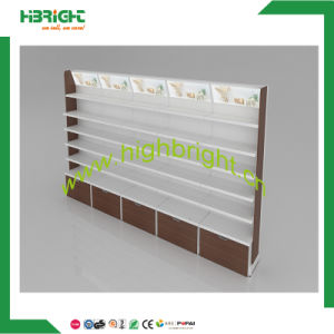 Single Sided Wall Supermarket Gondola Shelf Display Rack with LED Light Lamp Box pictures & photos