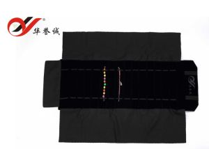 15 Lines Black Velvet Chain Roll Jwelry Roll Bag pictures & photos