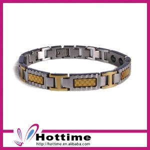 Fashion Men Style Magnetic Bracelet with Gold Color Carbon Fiber pictures & photos