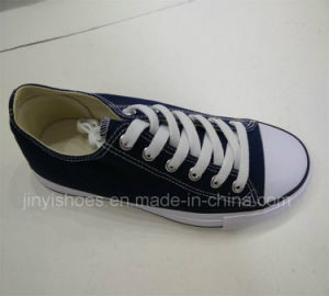 Classic Style Vulcanized Rubber Outsole Lace up Canvas Shoes pictures & photos
