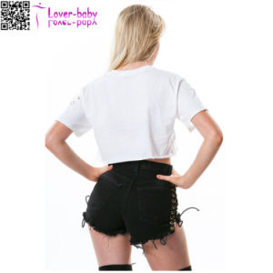Laced up Black Cutoff Shorts L548 pictures & photos