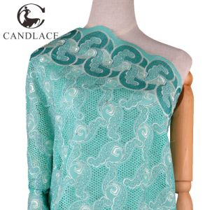 Water Green Cotton Embroidery Swiss Voile Lace Fabric pictures & photos