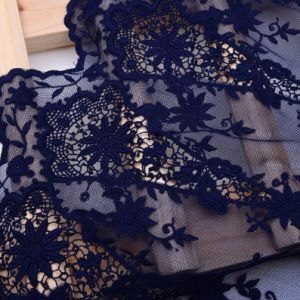 100% Polyester Solid Embroidery Lace Fabric pictures & photos