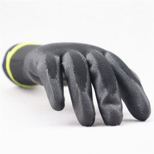 13G Polyester Liner Polyurethane PU Chemical Glove PU Coated Glove pictures & photos