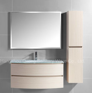 Melamine MDF Bathroom Vanity with Glass Sink Cabinet pictures & photos