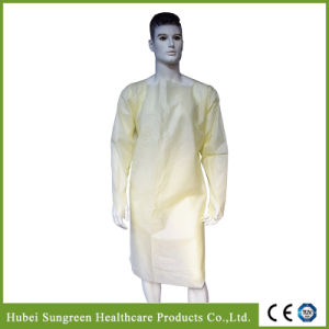 Die Cut Yellow SMS Isolation Gown with Thumb Loop pictures & photos