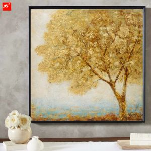 New Two Pieces Art Golden Trees Oil Painting pictures & photos
