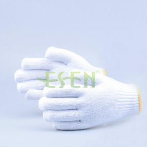 Safety Gloves Cotton Knitted Glove, High Quality Black Cotton Knitted Gloves for Industrial Work pictures & photos