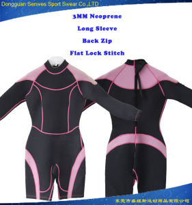 Women Neoprene Long Sleeve Short Trouser Surfing Wetsuit