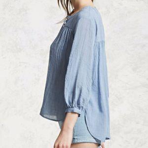 Ladies Fashion Chiffon V-Neck Bandage Blouse pictures & photos