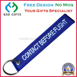 Fabric Custom Embroidery Key Tag, Remove Before Flight Keyring pictures & photos