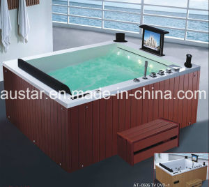 1700mm Rectangle Corner Massage Bathtub SPA with Ce RoHS for 2 People (AT-0505F TV DVD-1) pictures & photos
