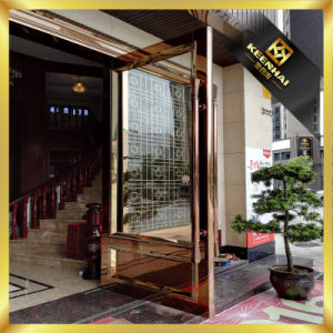 Golden Luxury Exterior Metal Stainless Steel Swing Security Glass Entry Door pictures & photos